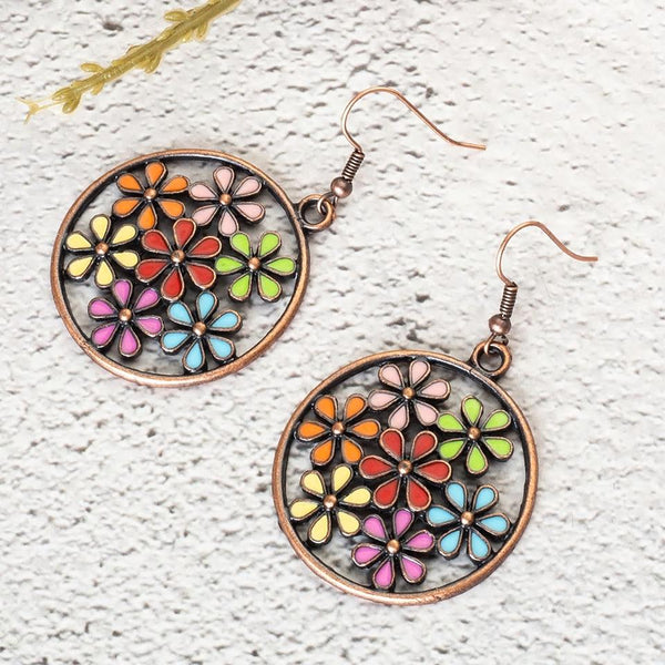 Antique Bohemian Floral Patterns Hollow Hoop Earring - [neshe.in]