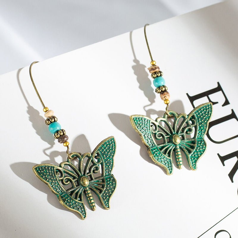 Bohemian Distressed Butterfly Fish Hoop styled Earring - [neshe.in]