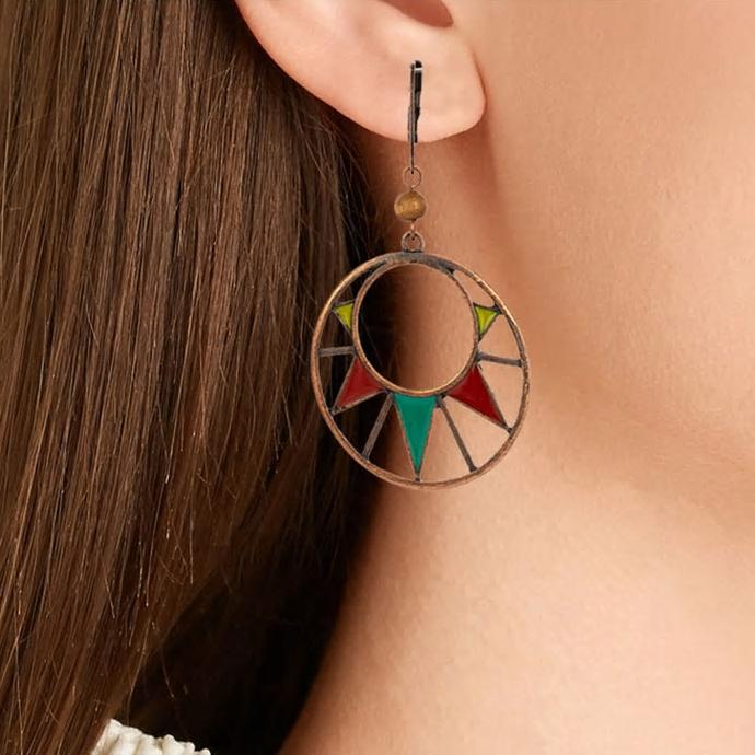 Round Geometric Oil Drip Dangle Drop Earrings - [neshe.in]