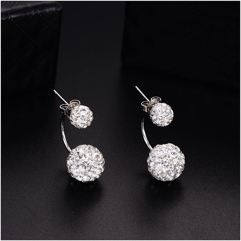 Double Round Beads Ball Shape Stud Earring with AAA Zircon Crystals - [neshe.in]