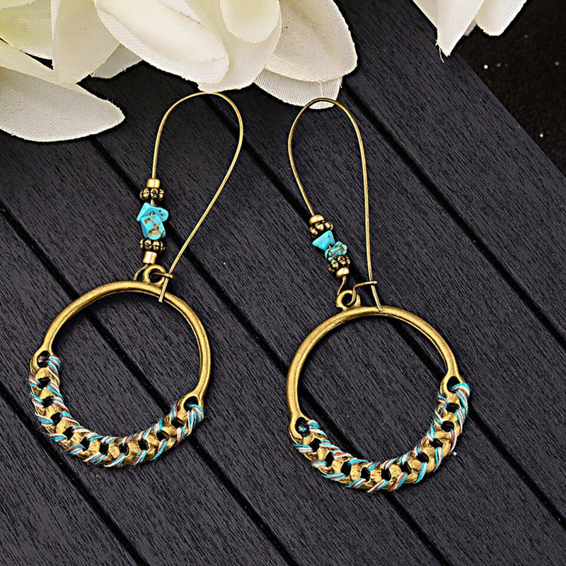 Minimalist Round Hook Styled Dangle Drop Ethnic Earring - [neshe.in]