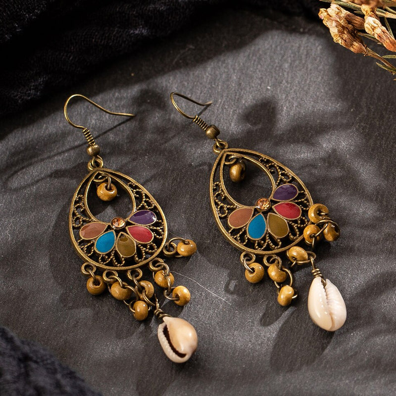 Vintage Ethnic Hanging Dangle Drop Earrings with Wood Beads Shell - [neshe.in]