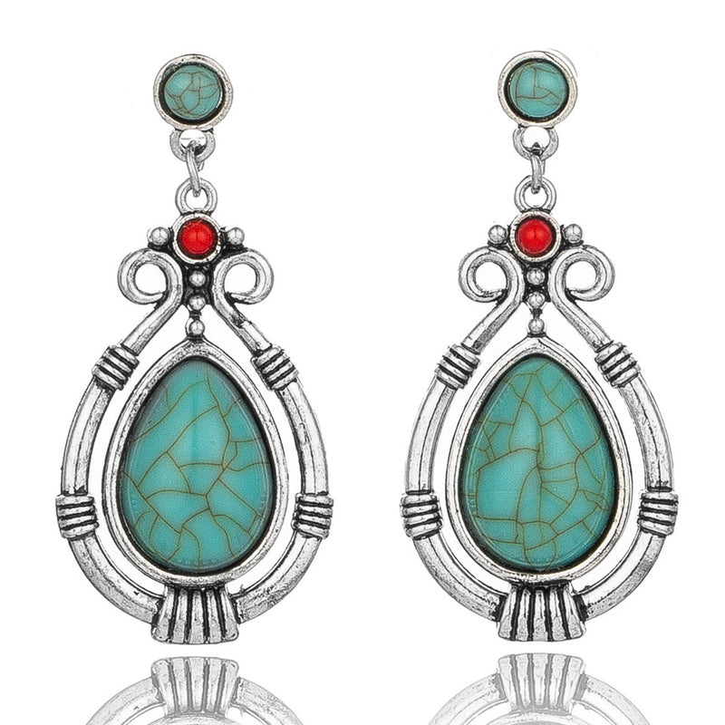 Ethnic Hanging Water Drip Nature Stone  Dangle Drop Earring- 2 colors - [neshe.in]