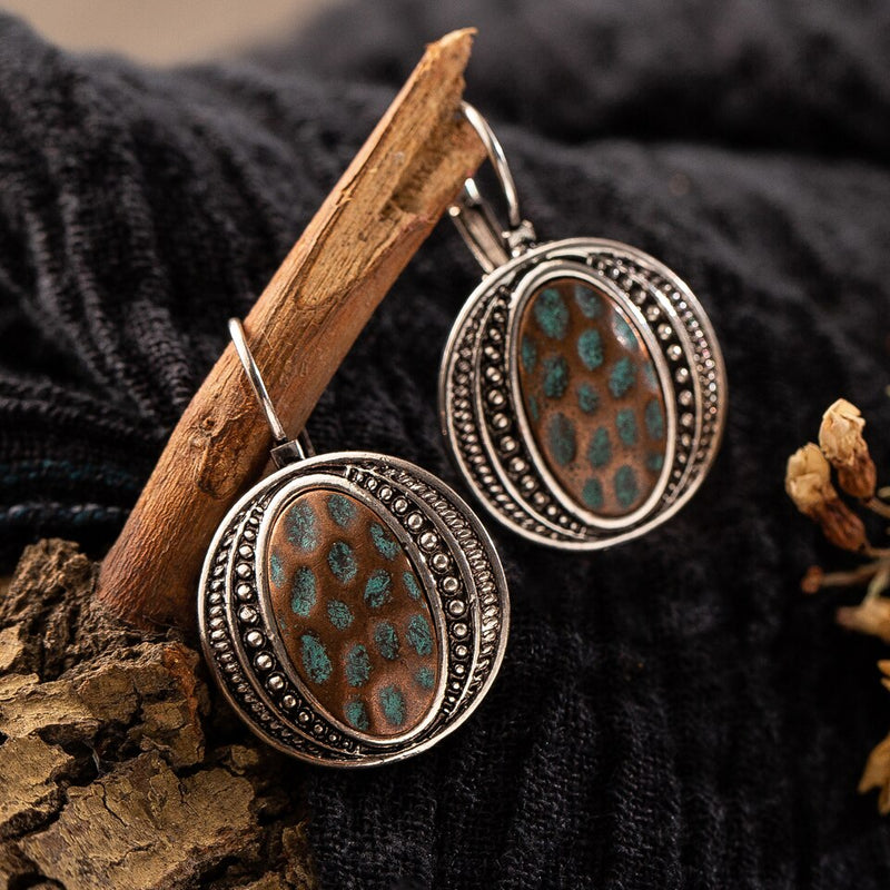 Ethnic  Earring Geometric Circle Drop Dangle Clip-on - [neshe.in]