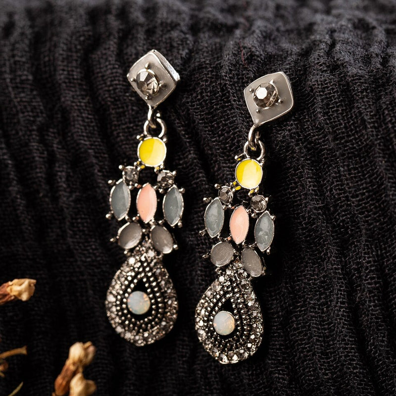 Rhishestone Crystal Oil Drip Dangle Drop Earrings - [neshe.in]