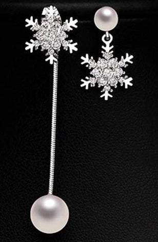 Trendy Crystal Snowflake Pearl Drop Earring - 2 Styles - [neshe.in]