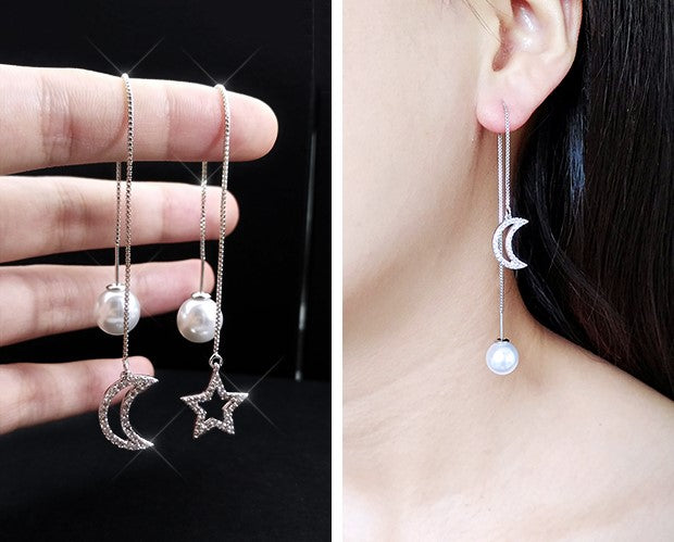 Crystal Crescent Star Pearl Asymmetric Needle Drop Earring - [neshe.in]