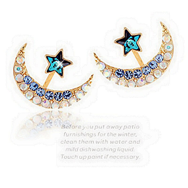 Classic Moon Rhinestone Ear Jacket Stud Earrings - [neshe.in]