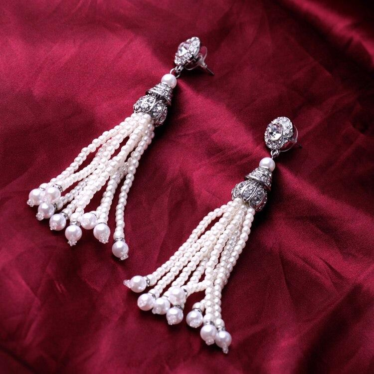 Antique Silver Multi Tassel Pearl Earrings - [neshe.in]
