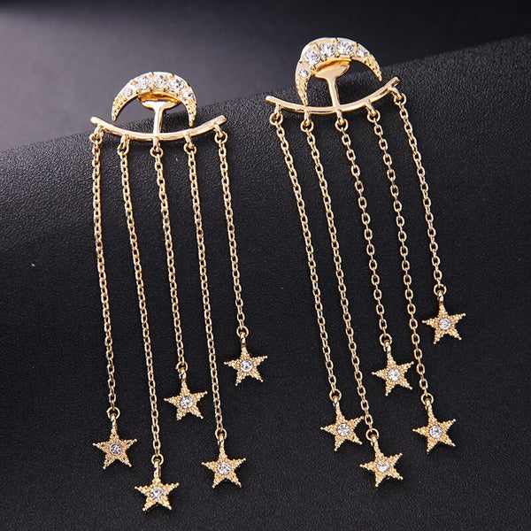 Star Moon 2 in 1 Tassel Dangle Convertible Earring - [neshe.in]