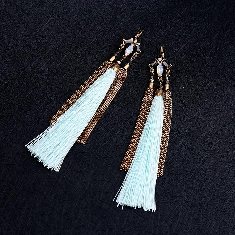 Ever Stylish Teal Tassel Fringe with Antique Look Earring - [neshe.in]