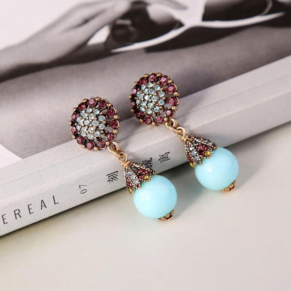 Blue Acrylic Bead Crystal Flower Earrings - [neshe.in]