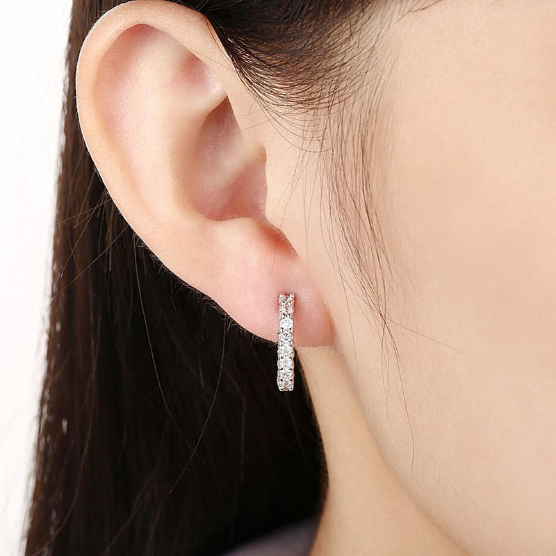 Zircon Crystals Clip Earrings Small Hoop Earrings - [neshe.in]