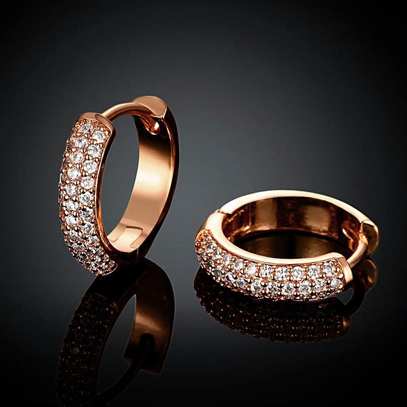 Rose Gold Color Zircon  Stylish Hoop - [neshe.in]