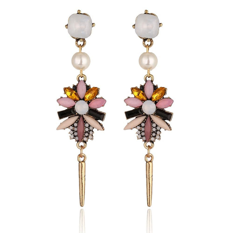 Crystal Imitation Peal Drop Dangle Earrings - [neshe.in]