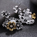 Vintage Pearl Classic Silver Gold Flower Earrings - [neshe.in]