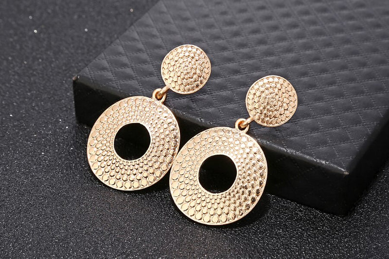Golden  Round Party Wear Hoop Earring - [neshe.in]