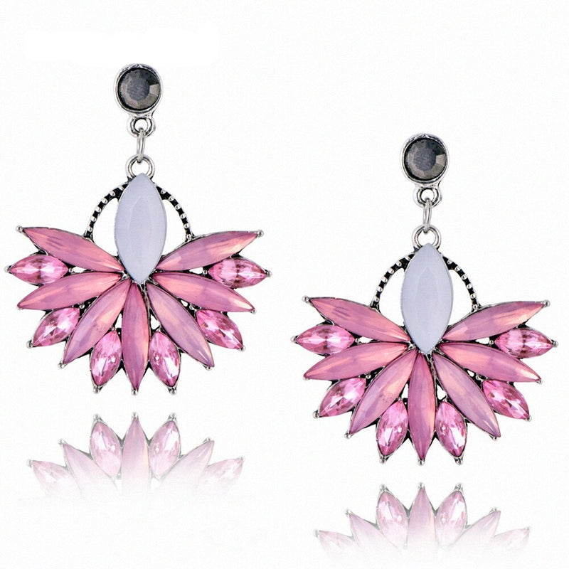 Pink & White Crystals Flower Drop Earring - [neshe.in]