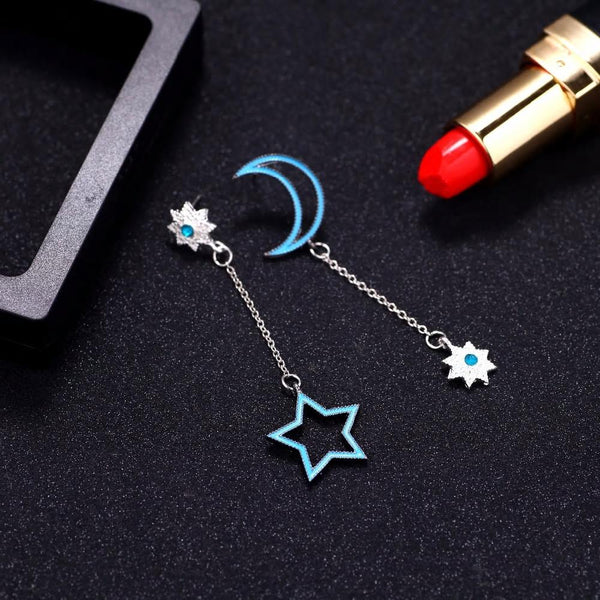 Stylish Blue Moon Star Silver Drop Earrings - [neshe.in]