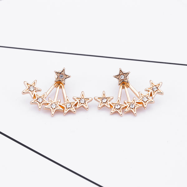 Golden Stars Delight Ear Jacket Style Stud Earrings - [neshe.in]