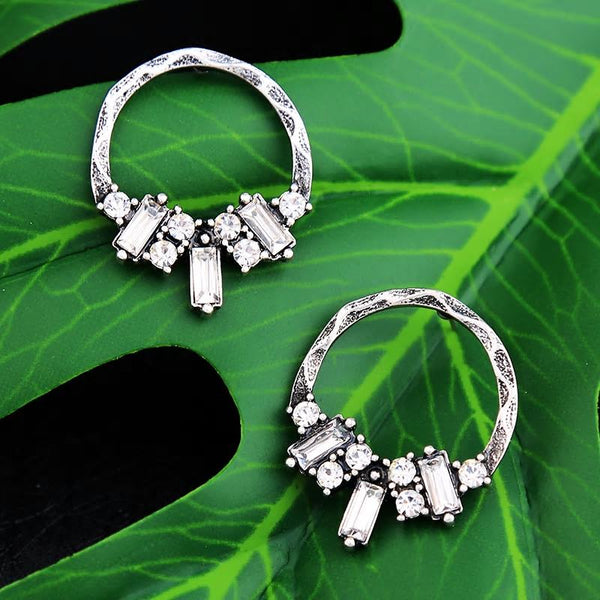 Antique Gold & Silver Vintage Hoop Stud Crystal Earrings - [neshe.in]