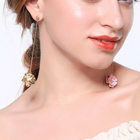 Elegant Pink Enamel Flower Long Dangle Korean Earrings - [neshe.in]