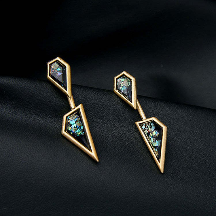 Irregular Antique Black Stone Long Earring - [neshe.in]