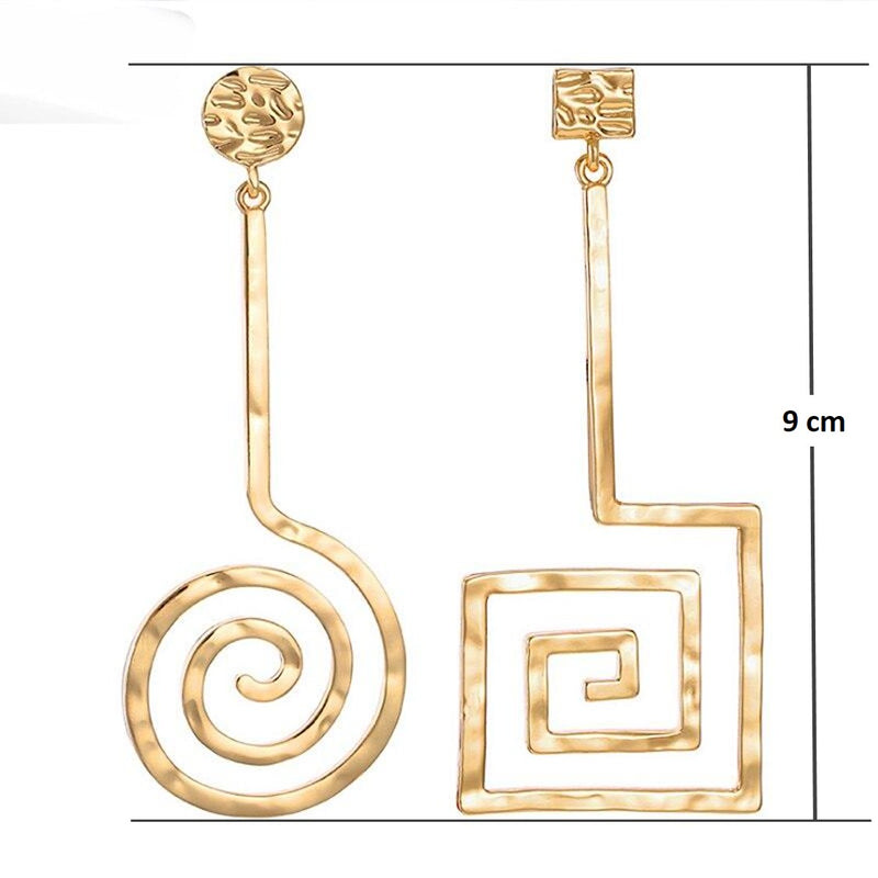 Golden Asymmetric Square And Circle Long Dangle Earrings