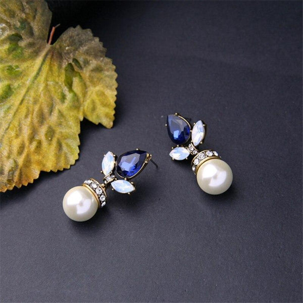 Blue Crystal Flower Drop Dangle Earring - [neshe.in]