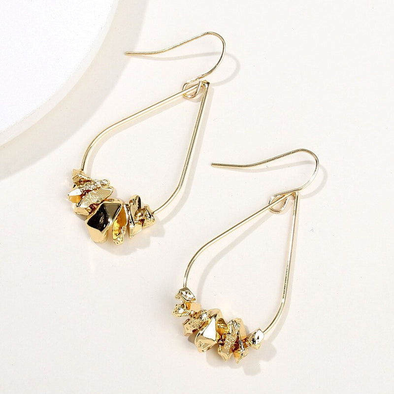 Gold Color Irregular Metal Stone Punk Earrings - [neshe.in]