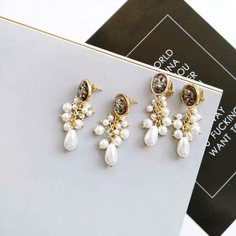 Water Drop Black Glass Pearl Earring -1 Color - [neshe.in]
