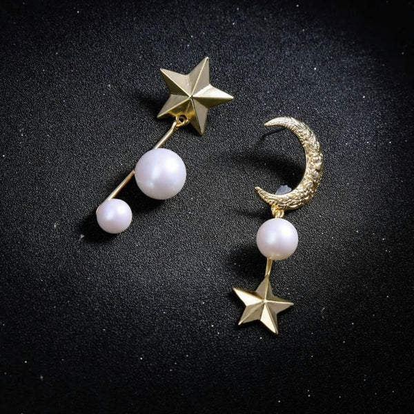 Asymmetrical Star Moon Pearl Vintage Earring - [neshe.in]