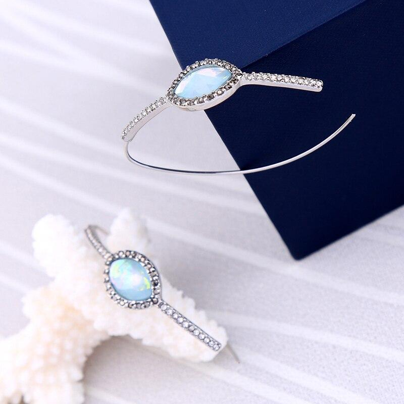 Curved Hook Hoop Style with Opal Stone Earring - [neshe.in]
