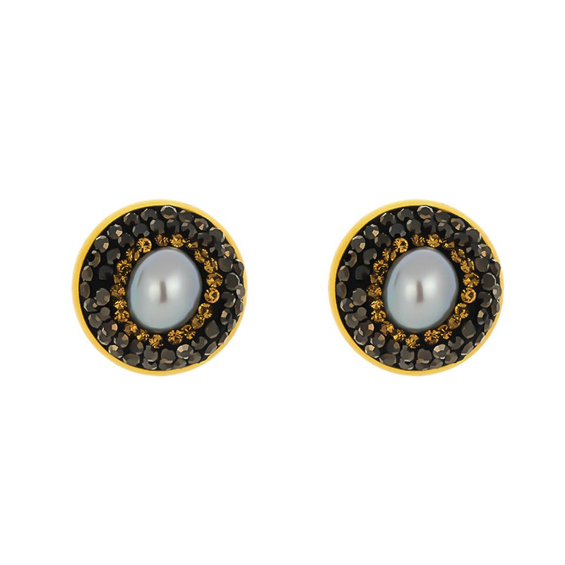 Geometric Round Natural Pearl Stud Earring