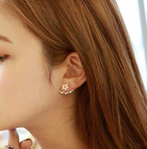 Crystal Flower Stud Ear Jacket Earrings - 2 Colors - [neshe.in]
