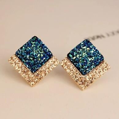 Luxury Fashion Rhinestone Crystal Square Stud Earrings - 2 Colors - [neshe.in]