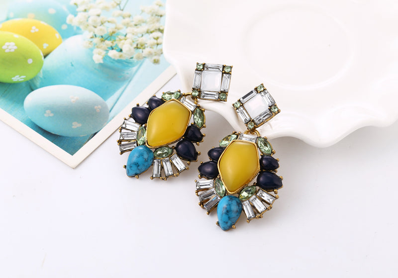 Yellow Gem Exaggerated Statement Drop Earrings - [neshe.in]