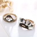 Vintage Antique Gold Unique Shaped Rhinestone Rings - [neshe.in]
