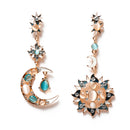 New Design Alloy Asymmetrical Sun Moon Shape Earrings - [neshe.in]