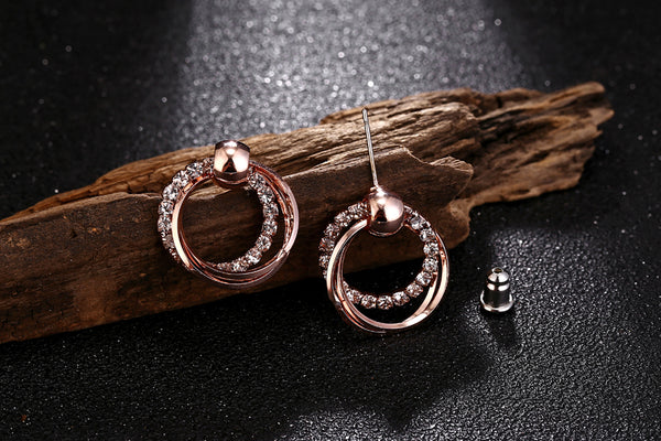 Exquisite Double Round Rhinestone Rose Gold Stud Earrings - [neshe.in]