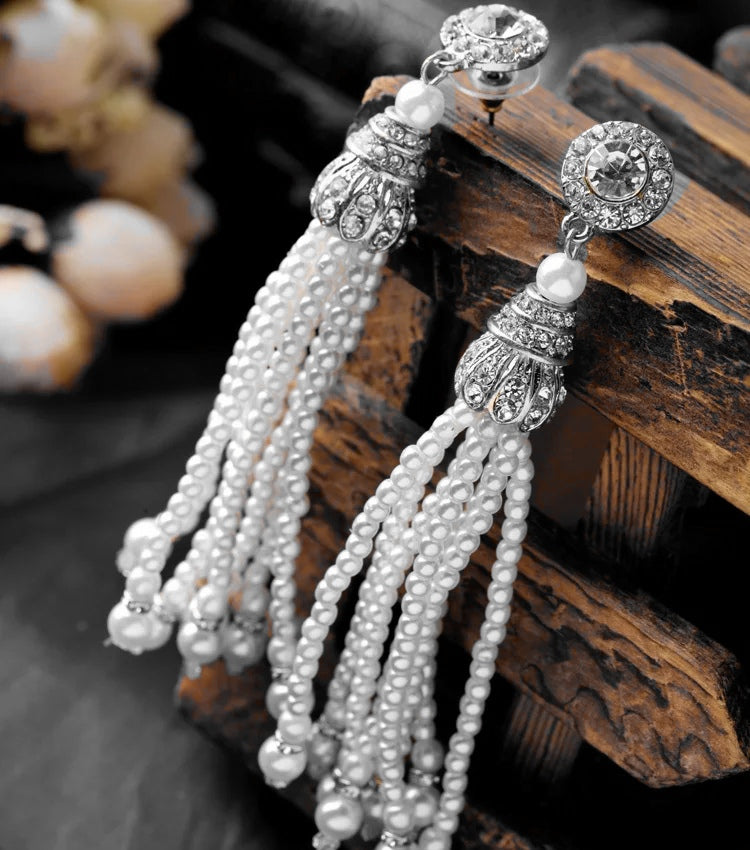 Antique Silver Multi Tassel Pearl Earrings
