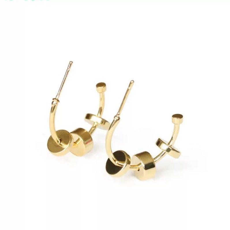 Round with charm Hoop earring  with 16 k Gold Plated Earrings