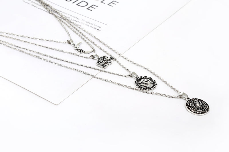 Bohemia Multilayer Chain Choker OM Pendant Necklace - [neshe.in]