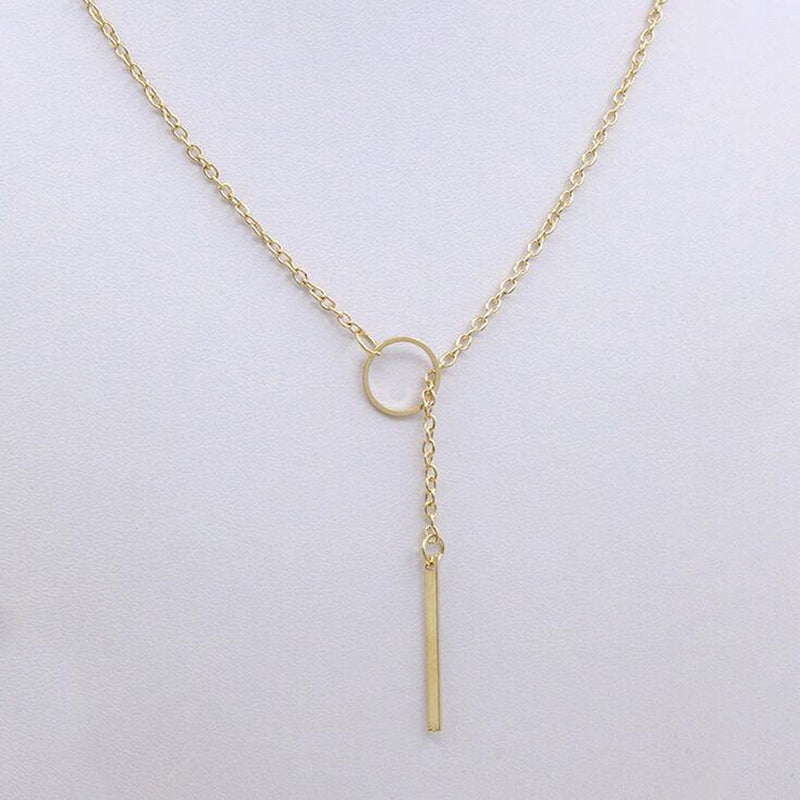 Simple Single Gold Chain Circle Necklace - [neshe.in]