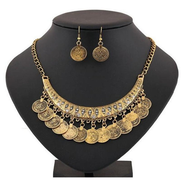 Bohemian Style Coins Choker Necklace & Earrings Set - 2 Colors - [neshe.in]