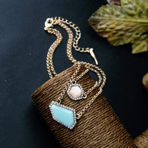 Irregular Pendant Blue Stone Necklace - [neshe.in]