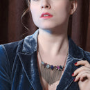 Trendy Irregular Colorful Crystals Tassel Necklace - [neshe.in]