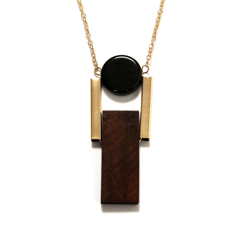 Geometric Black Brown Shaped Minimal Chain Necklace - [neshe.in]
