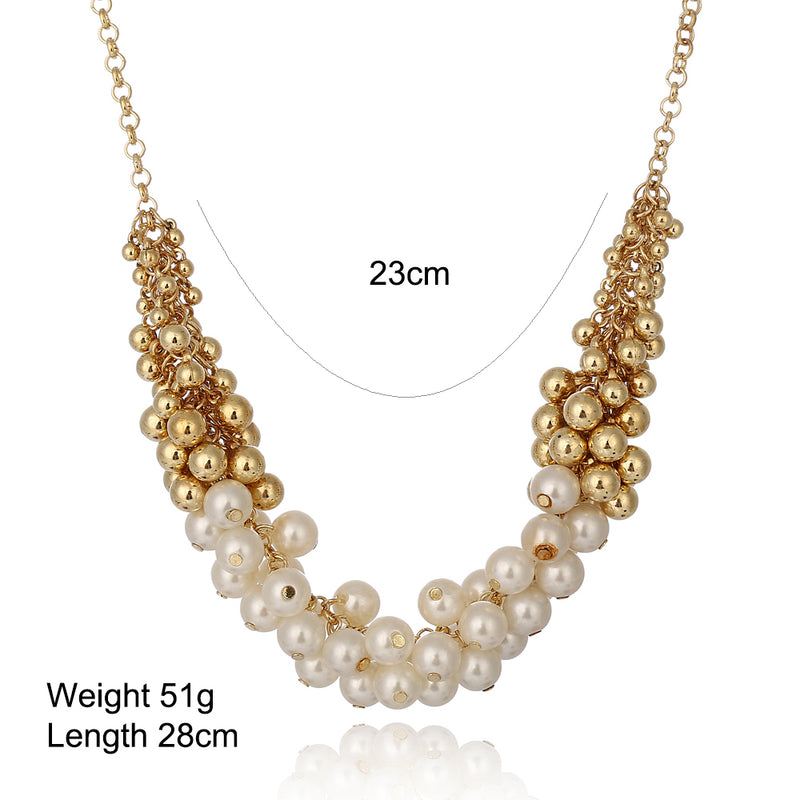 Korean Retro Simulated Gold & White Pearls Choker Necklace - [neshe.in]