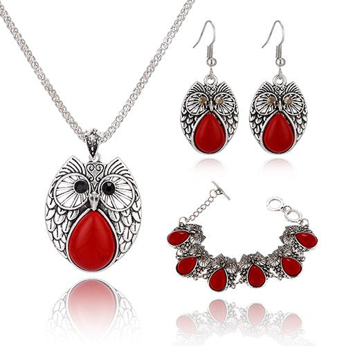Vintage Acrylic Stone Owl Necklace-Bracelet-Earring Set - 3 Colors - [neshe.in]